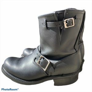 Frye Black Engineer Moto Style Boots Size 6.5